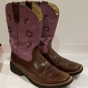 Roper Square Toe Boots brown and purple size 6.5